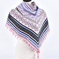 New Woman Soft Small Letters Tassels Square Scarf Winter Cotton Geometric Scarves Girl Warm National Stars Chevron Shawl Wrap