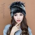 2016 inverno mulheres gorros Guaxinim rex chapéu de pele de malha para mulheres chapéu de pele com pele de raposa flor top tamanho livre das mulheres casuais chapéu