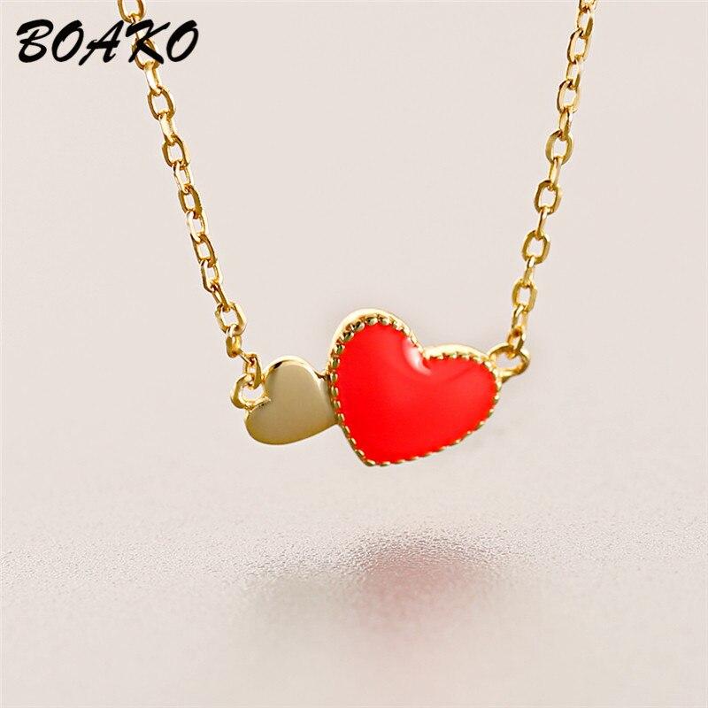 BOAKO Tiny Red Glaze Heart Pendant Necklace for Women Short Chain Choker 925 Sterling Silver Boho Jewelry