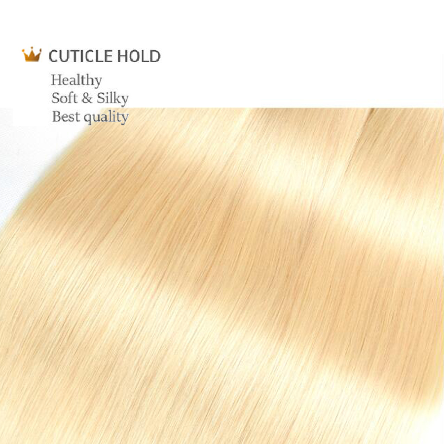 613 Blonde Bundles With Frontal Brazilian Straight Hair With Frontal Remy Blonde Human Hair Lace Frontal Closure With Bundle