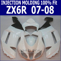 White For Kawasaki Ninja Fairing kit zx6r 2007 2008 07 08 Injection Fairings S07
