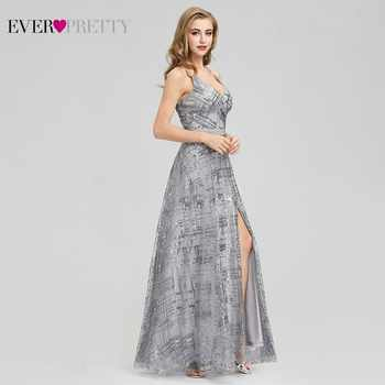 Ever Pretty Grey Sequined Evening Dresses Long V-Neck Side Split Sexy Sparkle Formal Party Gowns EP07957GY Abiye Gece Elbisesi