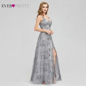 Image 3 - Ever Pretty, серые вечерние платья с блестками, Длинные вечерние платья с v образным вырезом и разрезом по бокам, сексуальные блестящие вечерние платья EP07957GY Abiye Gece Elbisesi