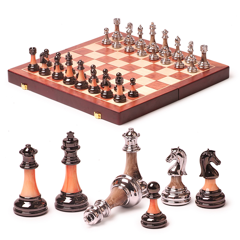 BSTFAMLY wooden chess set game, portable game of international chess, folding chessboard ...