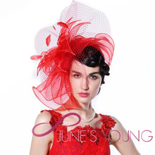 Womens Red Fascinator Hats Hair Accessories Wedding Mesh Flower Hair Bows Clips Cocktail evening party Show Church Derby