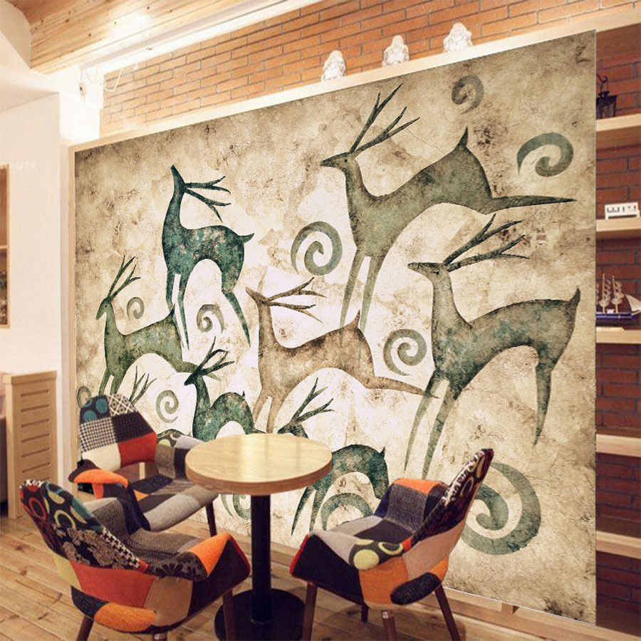 popular wall mural print buy cheap wall mural print lots from running deer animal 3d room wallpaper for wall 3d livingroom photo wall paper natural landscape prints