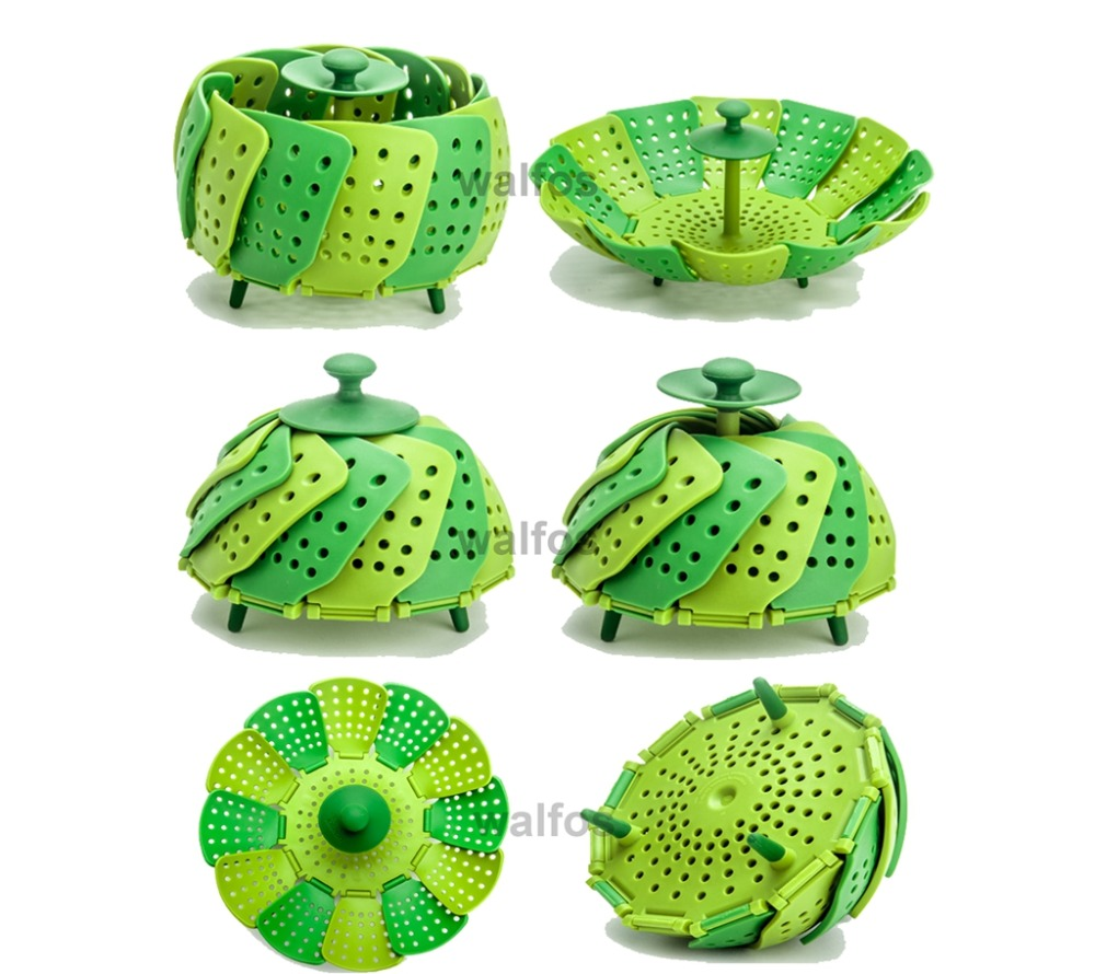 Charmant ... Food Steamer U2013 Silicone Kitchen Folding Steamer Basket U2013 Collapsible Vegetable  Steamer ...