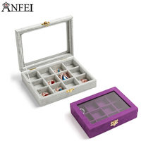Anfei Small Size Jewelry Box Velvet And Glass Material Jewelry Box Personal Jewelry Storage Casket For