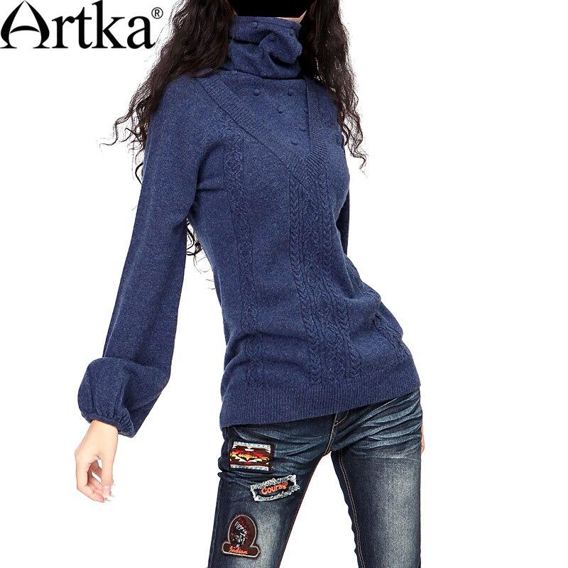 Artka Women'S Vintage Style Gracieux Mince Col Roulé Pulls Solide Laine Fleurs Plein Lanterne Manches Hiver Chandail YB15435D