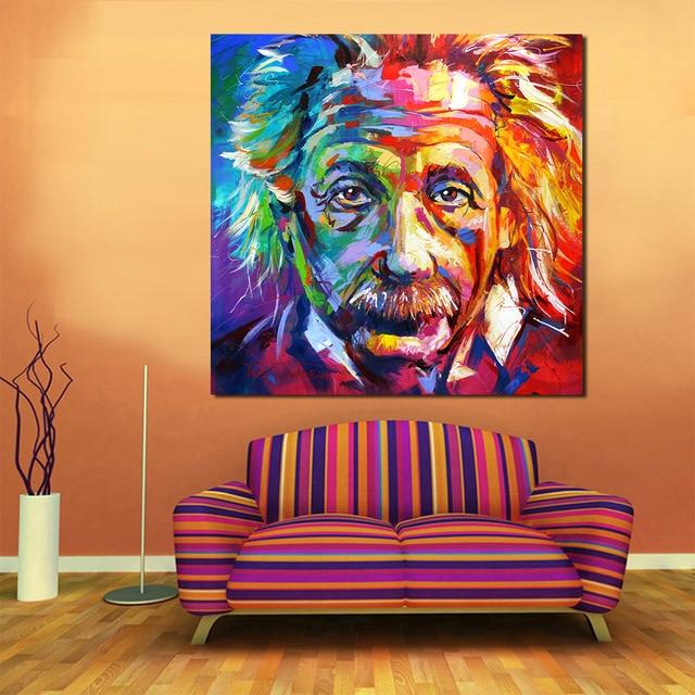 qcart portrait einstein huile peinture acrylique sur toile art pour le salon maison d coration. Black Bedroom Furniture Sets. Home Design Ideas