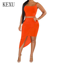 KEXU Sexy Summer 2 Pieces Sets Irregular High Split Dress Elegant Sleeveless Hollow Out Casual Party Vestidos Robe Femme