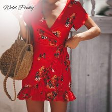 WildPinky Women Vintage Floral Print Short Summer Dress 2019 NEW Ruffle  Wrap Holiday Female Sexy V Neck Vestidos