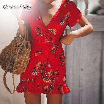WildPinky Women Vintage Floral Print Short Summer Dress 2020 NEW Ruffle  Wrap Holiday Dress Female Sexy V Neck Dress Vestidos floral print surplice wrap asymmetrical dress