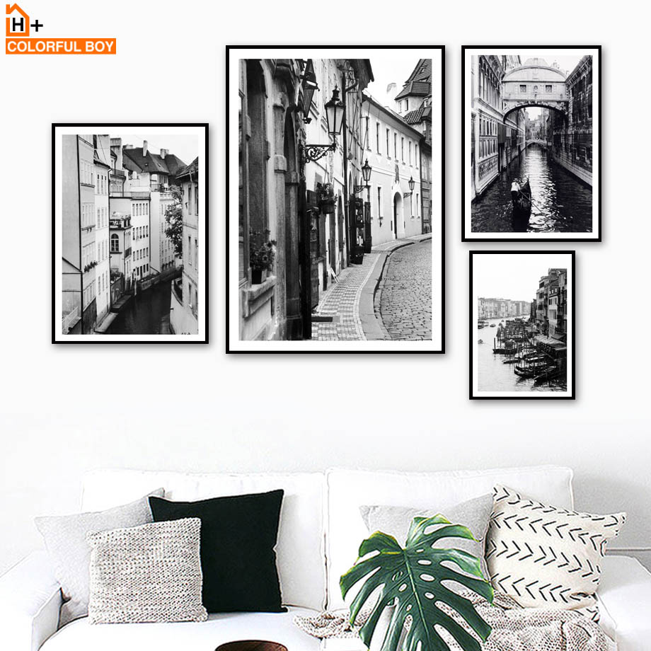 Paris City Vintage Landscape Wall Art Canvas Painting Nordic Posters And Prints Black White Wall Pictures For Living Room Decor