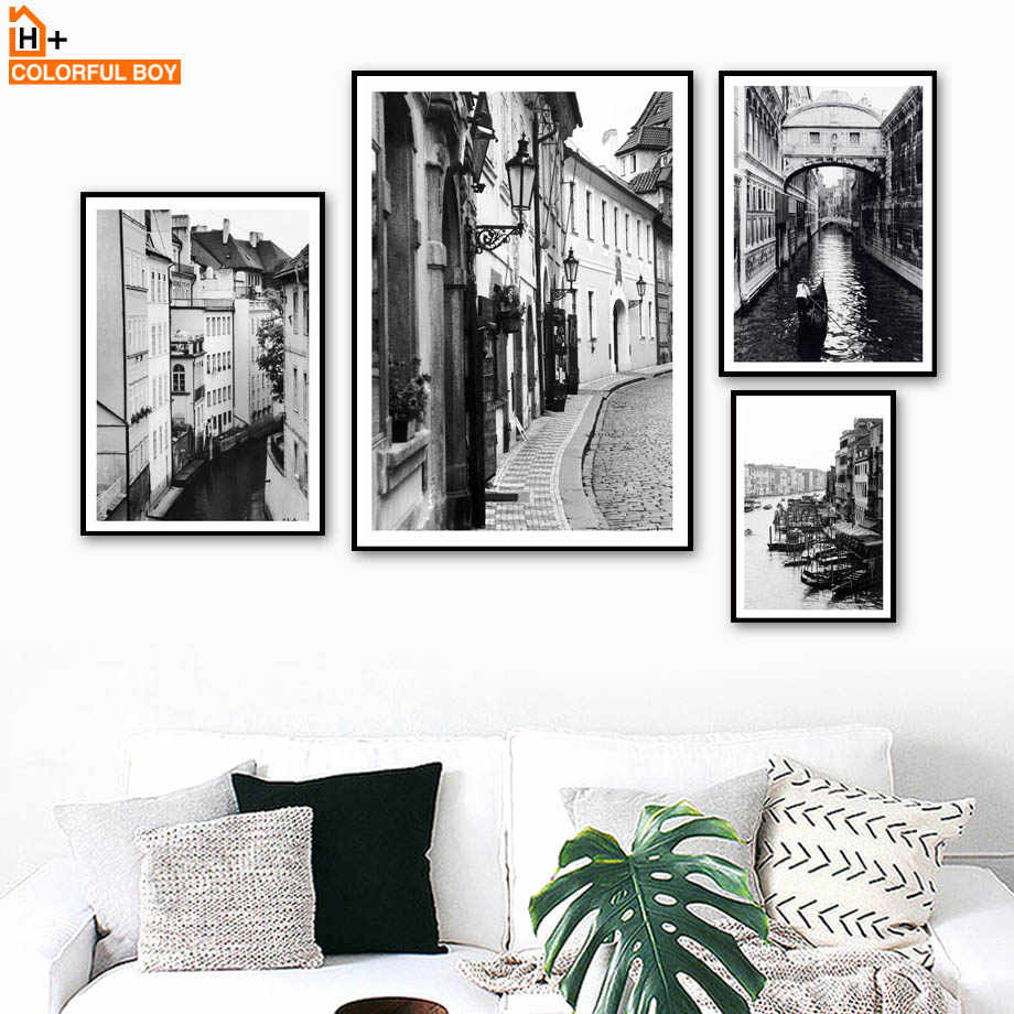 Paris city vintage landscape wall art canvas painting nordic posters and prints black white wall pictures