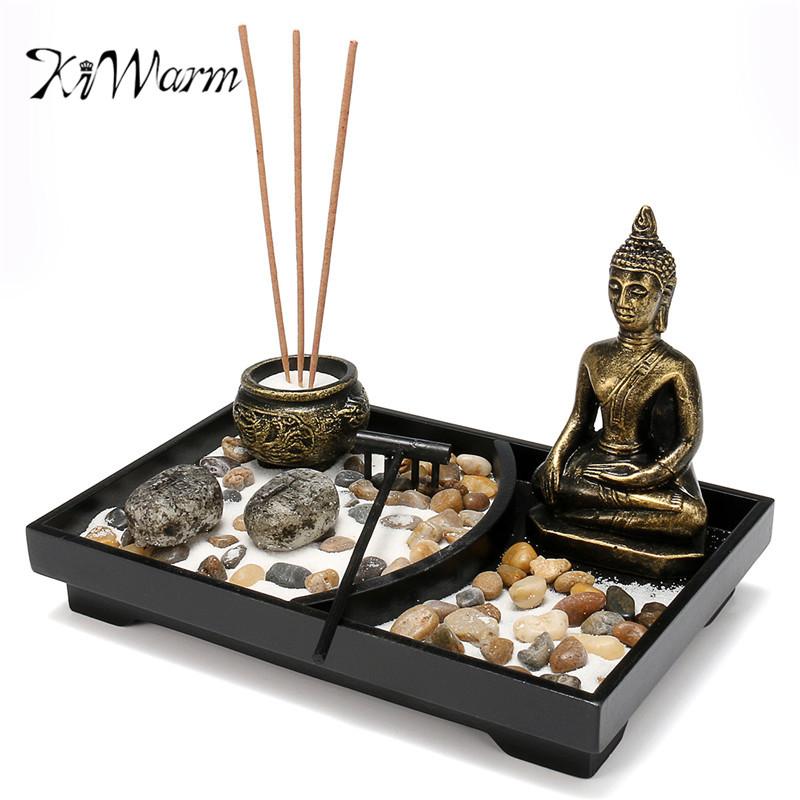 kiwarm zen jardn kit decoracin piedras arena incienso meditacin candelabro rastrillo hogar feng shui decoracin