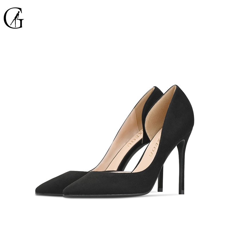 GOXEOU 2018 New Women shoes Thin High Heels Sexy Pointed Toe Slip-on Wedding Office Flock Handmade Free Shipping size32-46 newest flock blade heels shoes 2018 pointed toe slip on women platform pumps sexy metal heels wedding party dress shoes