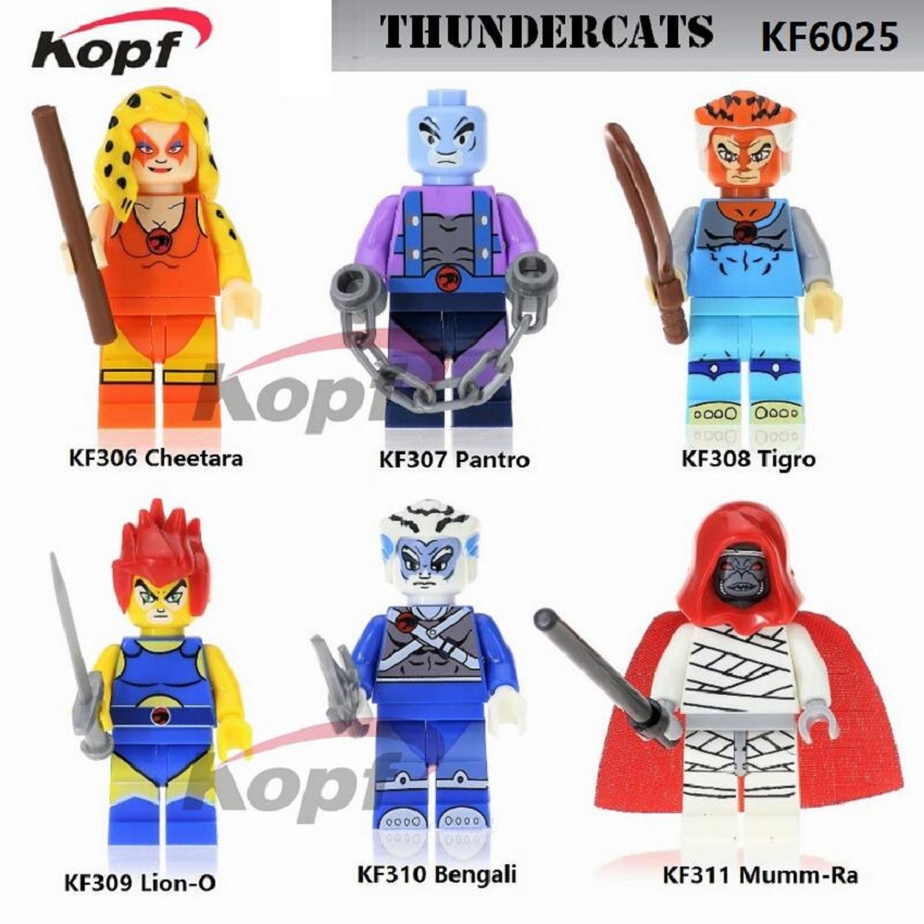 Super Heroes American TV Movie Thundercats Cheetara Pantro Tigro Mumm-Ra Bengali Building Blocks Bricks Kids Gift Toys KF6025 single sale super heroes gi joe series matt with junkyard dog firefly snow job power girl building blocks kids gift toys kf6028
