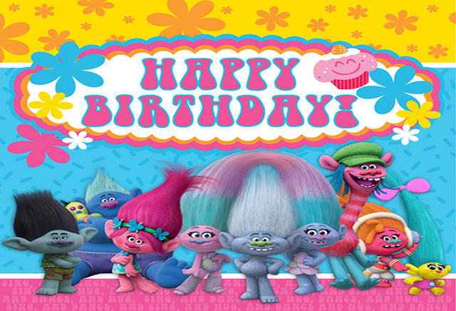 7x5ft Happy Birthday Trolls Muisc Concert Dance Flowers