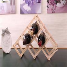 Umiwe Wooden Folding Wine Rack Holder Home Kitchen Bar 6 Wine Bottle Storage Display Stand