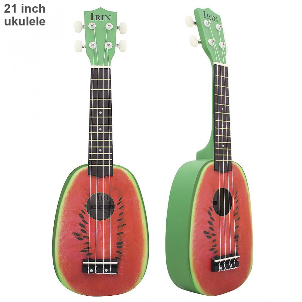 Sale 21 Inch Soprano Ukulele Watermelon Pattern 12 Fret Pineapple Shape Four Strings Hawaii Guitar String Musical Instrument