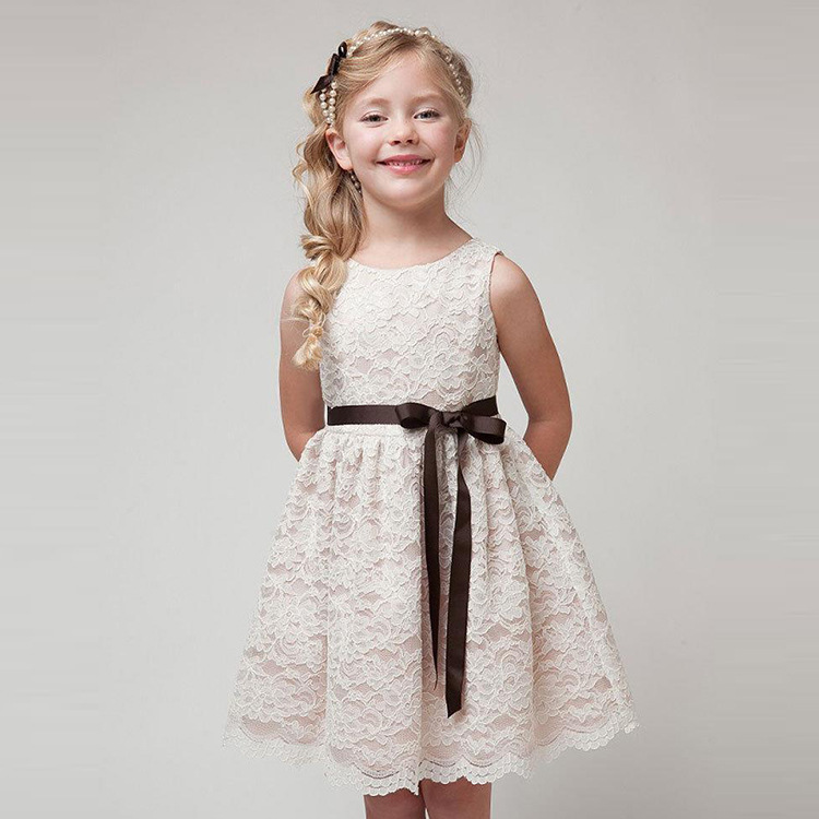 Summer Baby Girls Dress Flower Lace Hollow Princess Costume Kids Dresses for Princess   Party Frocks Children Clothing