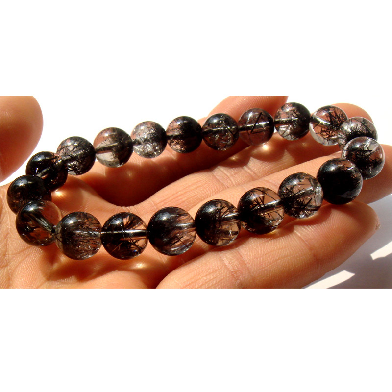 Top Grade Black Hair Rutilated Quartz Stretch Bracelet Beads 9.5mm Loose Beads 0653 punk style beads dumbbell alloy stretch bracelet