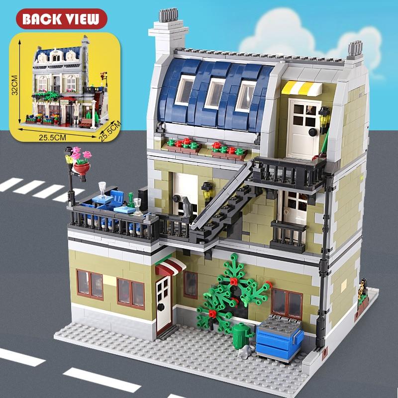 2418 шт. Новый создатель эксперт город улица Парижский Ресторан модель здания Конструкторы Совместимость подарок на день рождения детей
