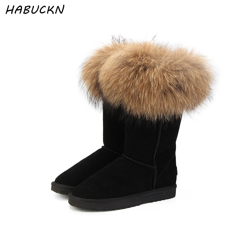 HABUCKN Natural Real Fox Fur Women's Winter Snow Boots Warm Long Boots Genuine Cow Leather High Winter Boots Women Shoes