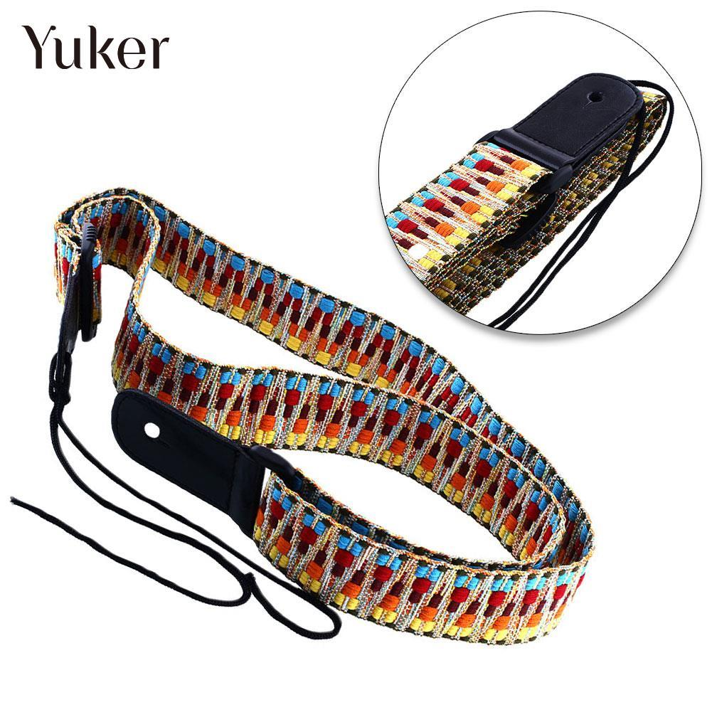 Yuker Guitar Belt Adjustable Classic National Style Guitar Strap Length 75-130cm Electric Strap Electric Guitar Strap amumu cotton guitar strap for acoustic electric guitar and bass solid color guitar belt adjustable 66 126 cm length s309