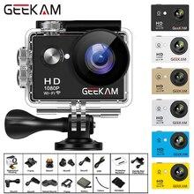 Geekam câmera de ação w9 ultra hd, 1080p, 12mp, wifi, 2.0 , à prova d água, submersa, câmera para capacete, câmera para gravar esportes