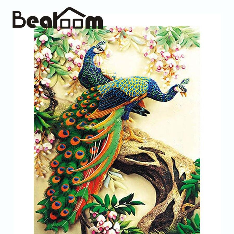 Bearoom Lukisan Menggambar Mewarnai Burung Merak Wall Decor Gambar Oleh