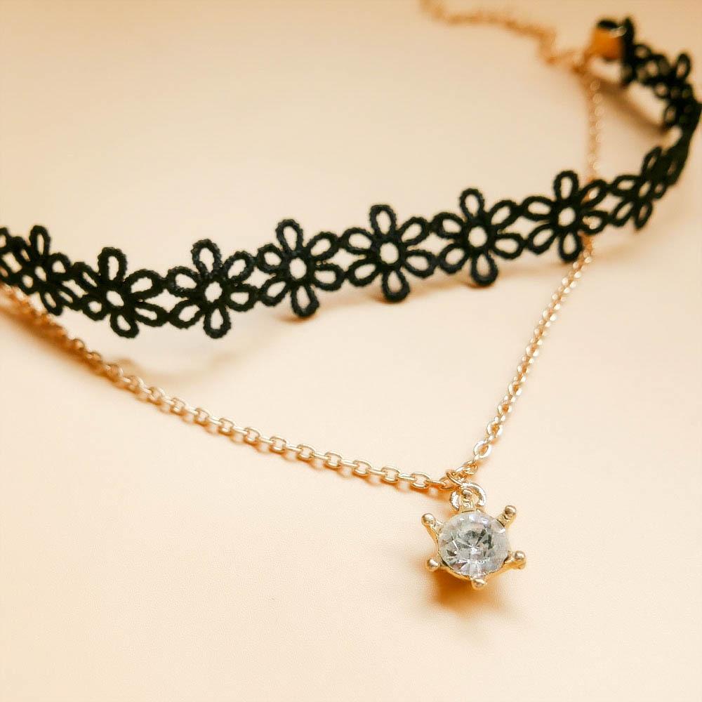 Grosir Unik Vintage Hitam Renda Liontin Gelang Bunga AnkleBracelet - Perhiasan fashion - Foto 3