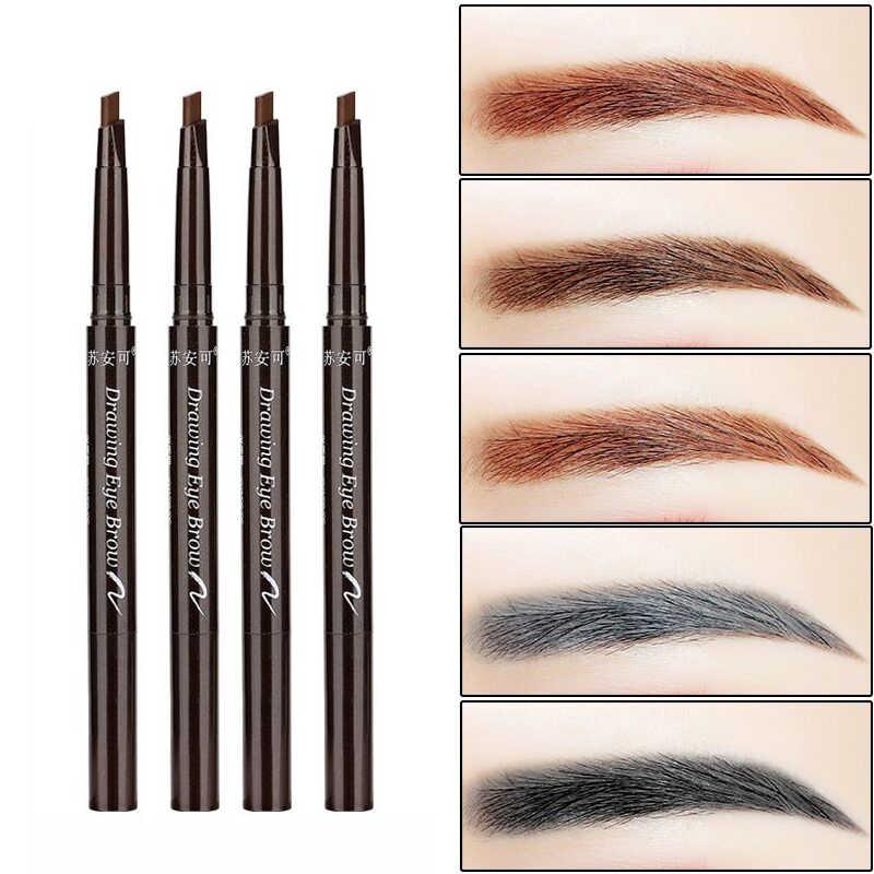 Doğal Uzun Ömürlü Boya Dövme Kaş Kalemi Su Geçirmez Siyah Kahverengi Göz kaş Makyaj Seti Güzellik Kaş Tonu Kalem Fırça ile