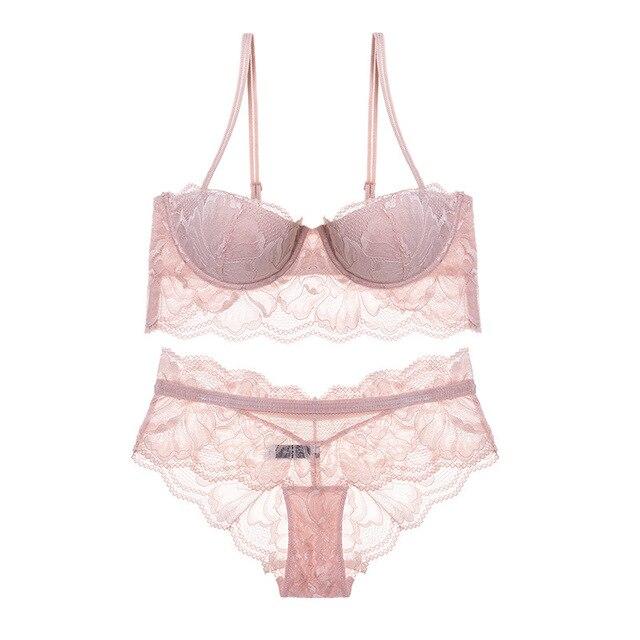 2018 Spring New Women Underwear Print Eyelash Lace Bra Embroidery Push UP  Bra   Panty Set Thin Half Cup Sexy Lingerie Bra Set 718cadd39