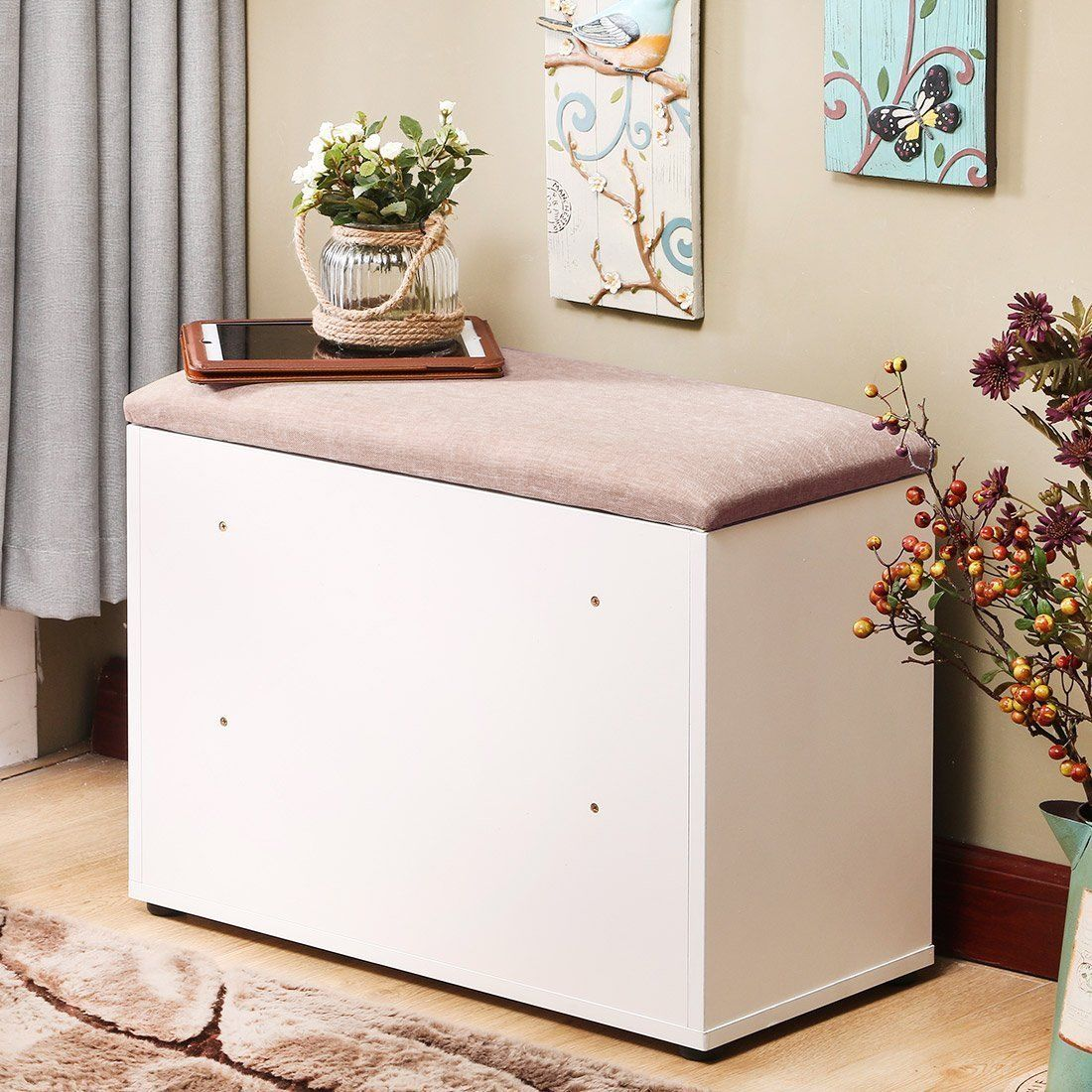 storage espresso cushioned shoe bench rack cabinet white l entryway