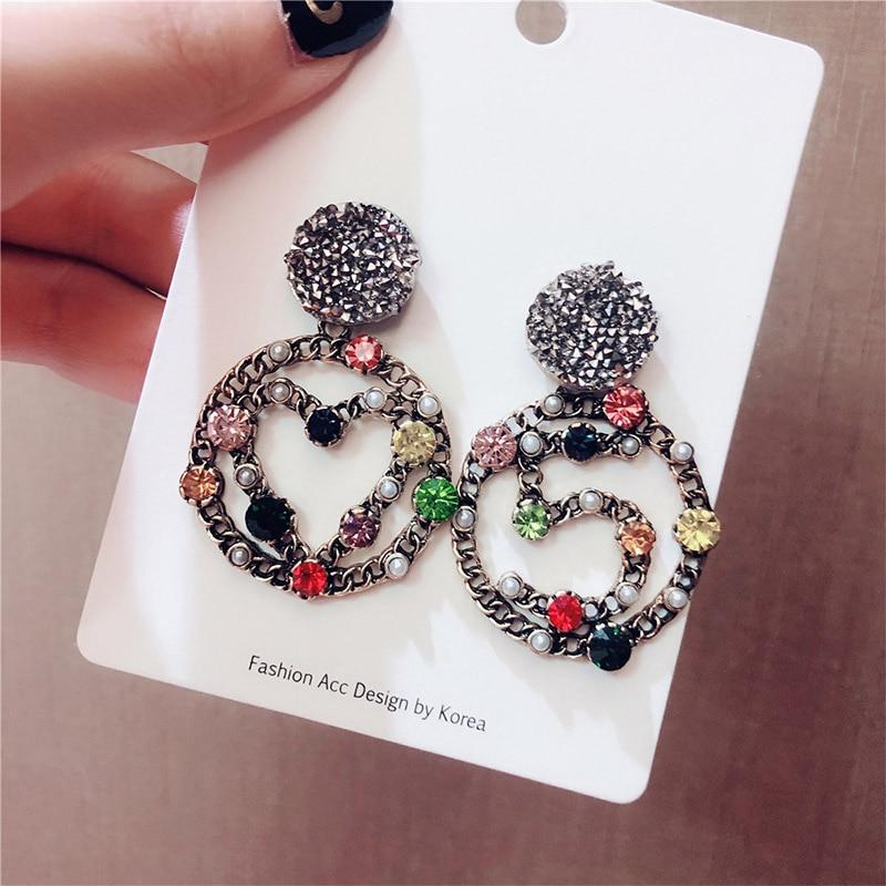 Fashion Retro 925 Pins Colorful Rhinestone Earrings Number 5 Heart Big Circle Earrings Women Jewelry oorbellen in Stud Earrings from Jewelry Accessories