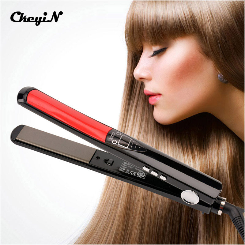 LCD Display Professional Heating Hair Straightener Tourmaline Ceramic Flat Iron Smooth Plate Negative ions Salon Hairdressing professional salon ptc heating ceramic negative ions steam automatic hair curler hair style tools