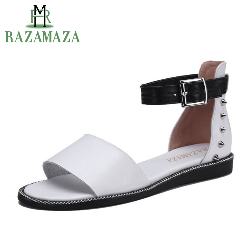 RAZAMAZA Women Real Genuine Leather Flats Sandals Rivet Ankle Strap Solid Color Flats Sandals Summer Woman Shoes Size 33-42RAZAMAZA Women Real Genuine Leather Flats Sandals Rivet Ankle Strap Solid Color Flats Sandals Summer Woman Shoes Size 33-42