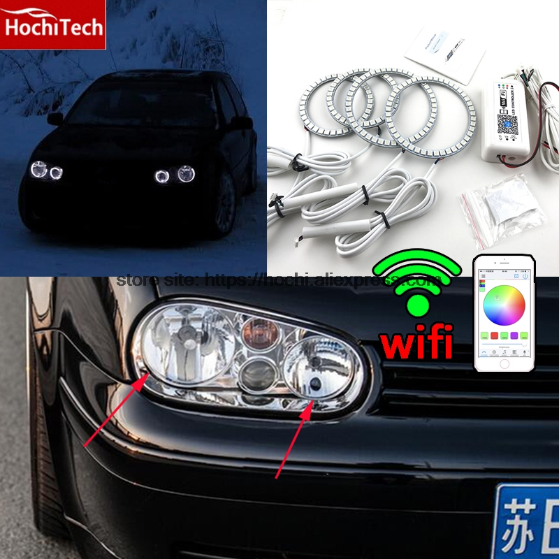 HochiTech Excellent RGB Multi-Color halo rings kit car styling for VW Volkswagen golf 4 1998-04 angel eyes wifi remote control бампер excellent car 13 14 rav4 4s