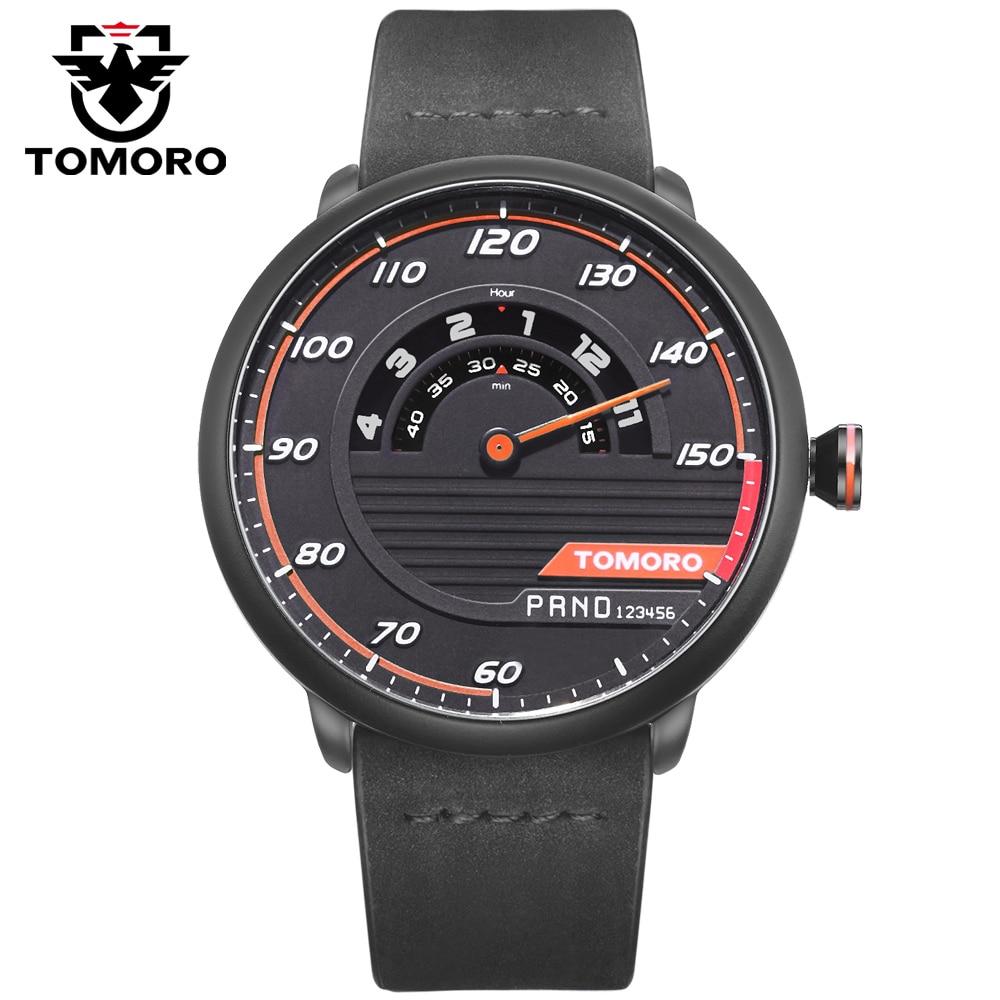 TOMORO Μοναδικό αυτοκίνητο-εμπνευσμένο ρολόι άνδρες χαλαζία αναλογικό ρολόι γνήσιο δέρμα Creative Man αθλητικά ρολόγια για τους λάτρεις αυτοκινήτων