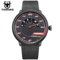 Tomoro unieke automotive-geïnspireerd horloge mannen quartz analoge klok lederen creatieve man sport horloges voor autoliefhebber