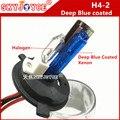 2X substituição hid xennon lâmpada H4-2 55 W 35 W halógena xenon H4L azul profundo revestido H4-2 xenon para hid xenon kit lastro regular AC