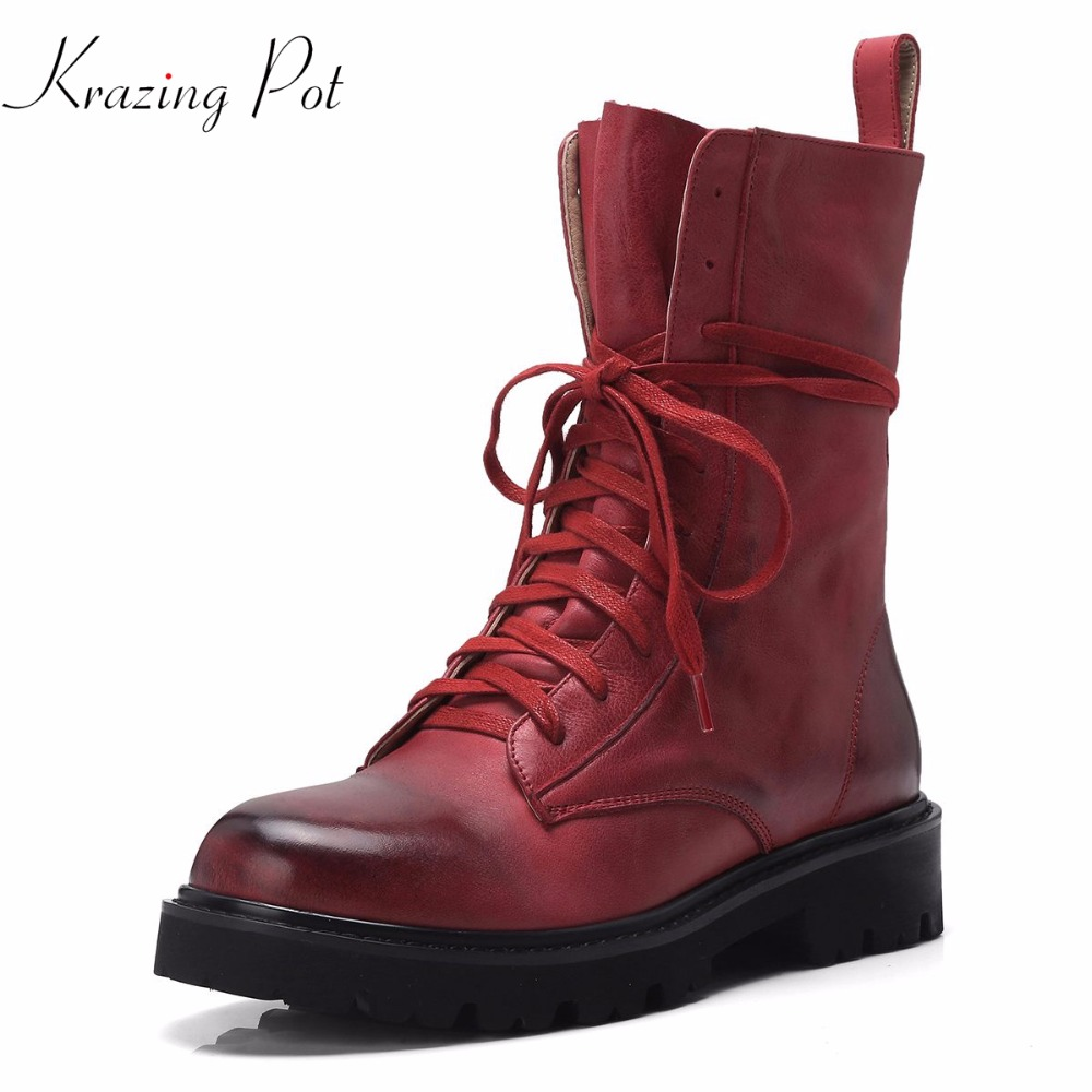 Krazing Pot cow leather round toe thick med heel British school cross-tied rock European designer western cowboy ankle boots L33