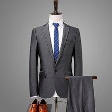 2018 hombres traje Formal gris plata negocios Slim Fit traje 2 unidades  boda trajes para hombres vestido de fiesta esmoquin cant. 217ec6797a8