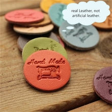real leather not PU artificial handmade leather Disc Hand sewn Decoration diy hand Accessories Stitching leather card labels cheap Handbag Garment Sofa Luggage Cow Skin 0003 Embossed normal Split