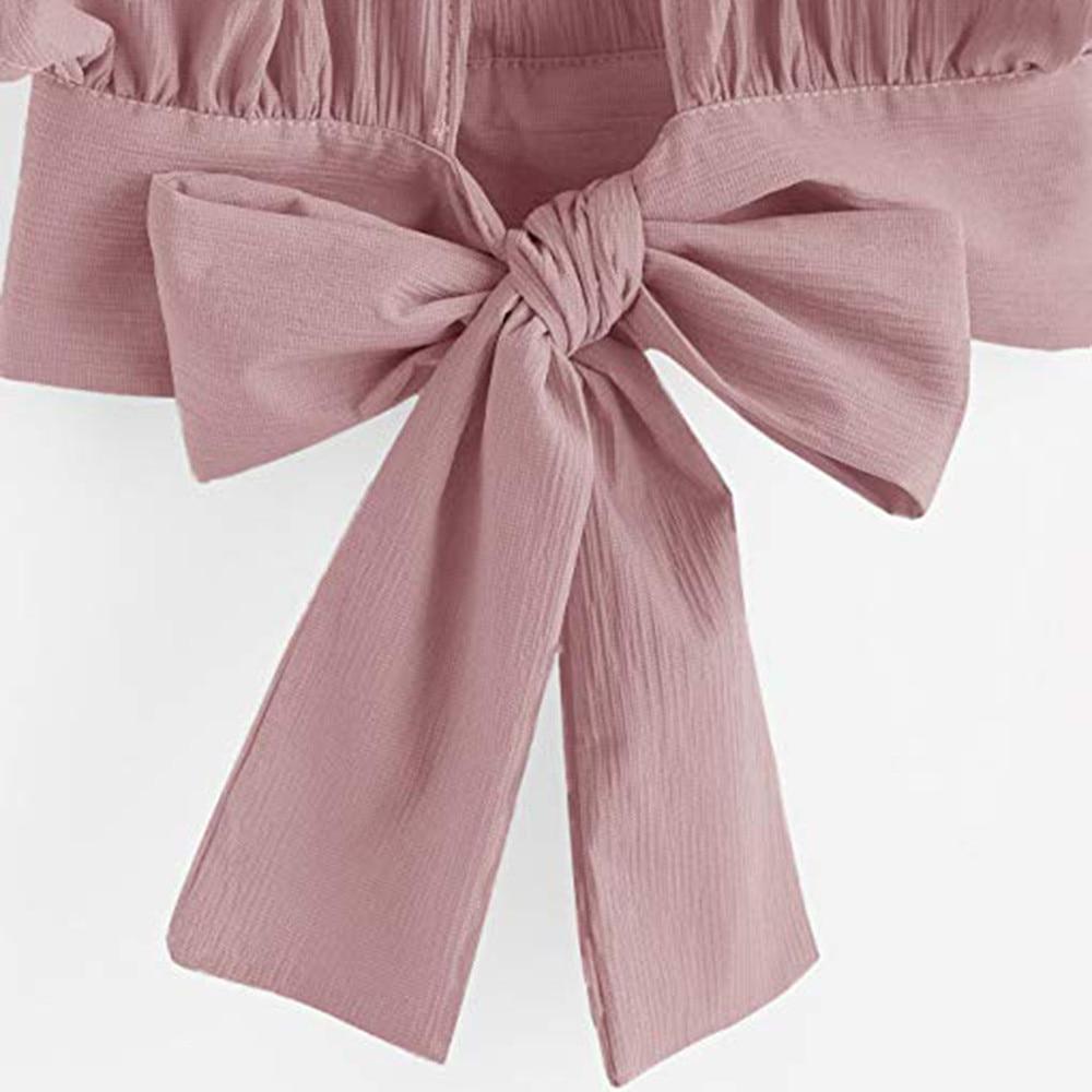 Women Ladies Bow Short Sleeve Shirt Blackless V Neck Short Tops Polyester Solid Women's Harajuku Crop top #7925 14 Online shopping Bangladesh