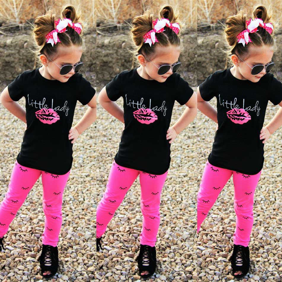 Toddler Kids Baby Girls Outfits Clothes Short Sleeve T-shirt Tops+Pants 2PCS Girls Clothing Sets nyx professional makeup гель помада plush gel lipstick air blossom 02