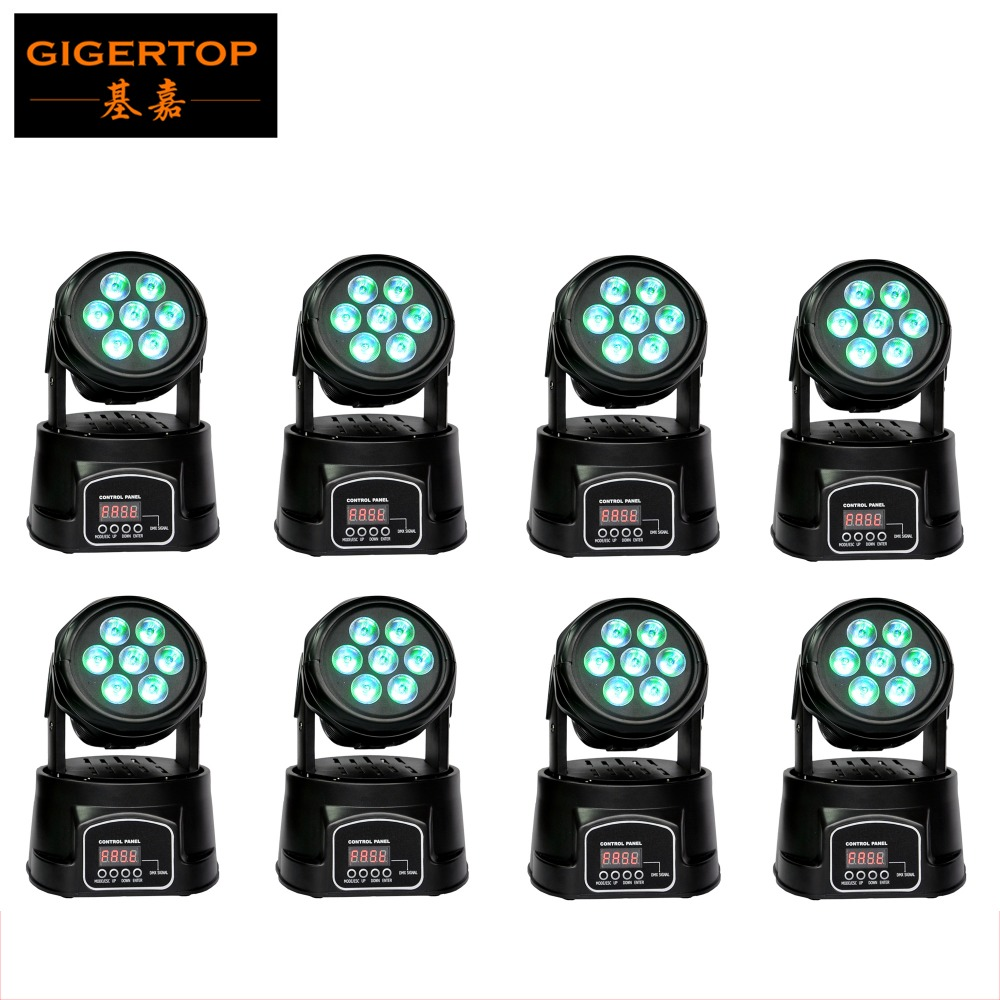Guangzhou Stage Light 8Xlot  7 x 10W RGBW 4in1 LED Mini Moving Head DJ Disco Stage Party Effect Lighting DMX 8/13 Channel TIPTOP high quality mini 10w led spot moving head 7 gobo stage light disco dj dmx512 rgbw stage effect projector stereotypes packaged