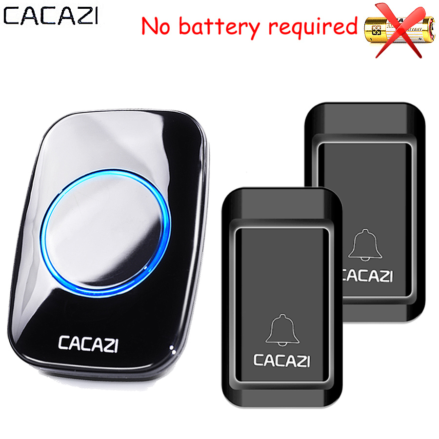 CACAZI Waterproof Self-powered Wireless Doorbell CALL EU AU UK US Plug smart Door Bell ring Chime 2 button 1 receiver no battery wireless cordless digital doorbell remote door bell chime waterproof eu us uk au plug 110 220v